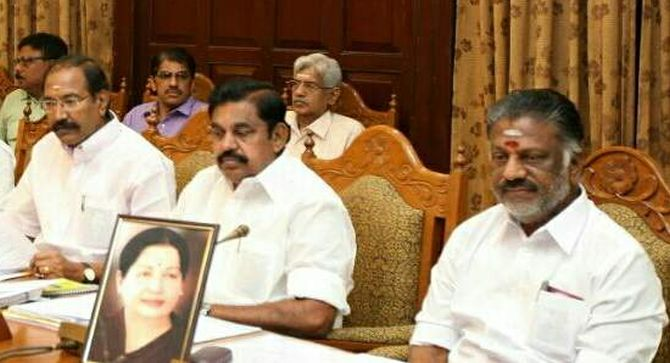 O P Paneerselvam with other cabinet ministers