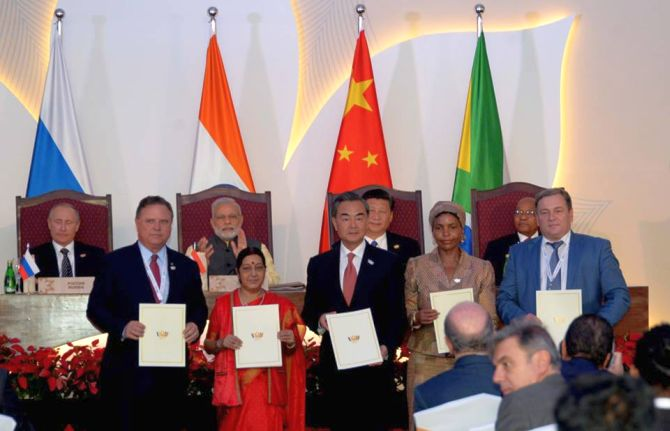 Foreign Ministers of BRICS countries show the joint agreements signed with each other at the BRICS Summit in Goa. Photograph: BRICS/Facebook