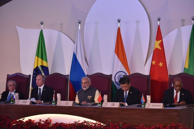 IMAGE: Prime Minister Narendra Modi addresses the BRICS Leaders' meeting with the BRICS Business Council at the BRICS Summit-2016 in Goa. Photograph: PIB