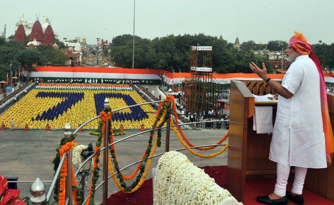 Prime Minister Narendra Modi speaking at the Red Fort on August 15. Photograph: PIB