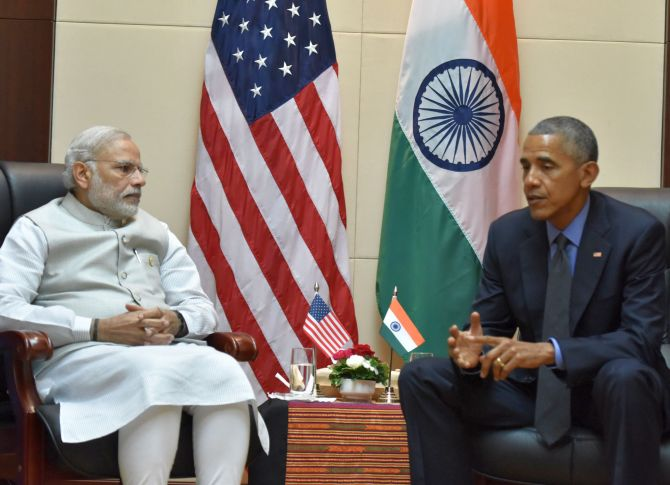 Prime Minister Narendra Modi and US President Barack Obama at their eigth meeting in Laos in two years, September 2016