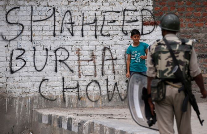 A wall painted with graffiti during a protest in Srinagar, September 2016. Photograph: Danish Ismail/Reuters