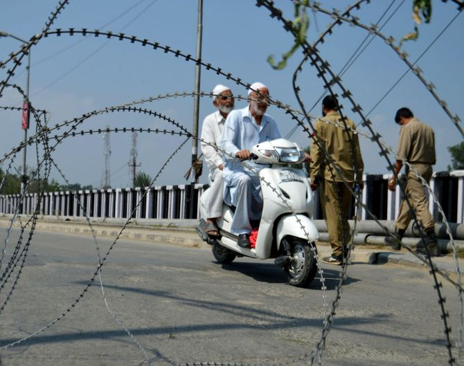 A street under curfew in Srinagar