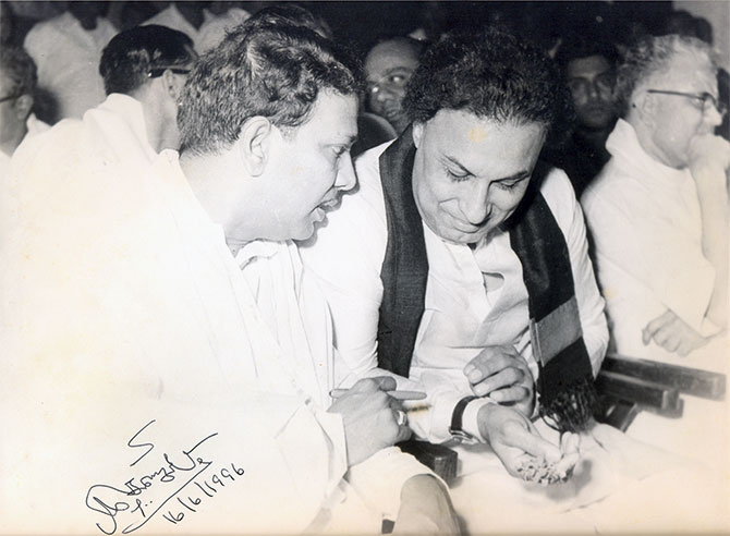 M Karunanidhi with M G Ramachandran