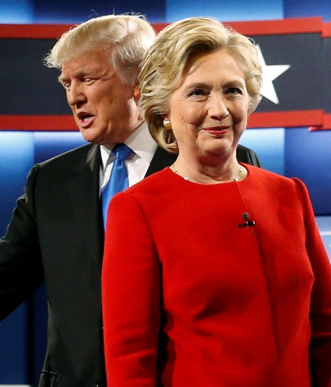 Hillary Clinton and Donald Trump at the first US presidential debate.