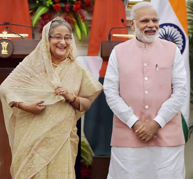 Prime Minister Modi, right, with Bangladesh Prime Minister Sheikh Hasina. Photograph: Vijay Verma/PTI Photo