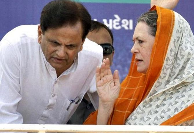 Then Congress president Sonia Gandhi with her political secretary Ahmed Patel