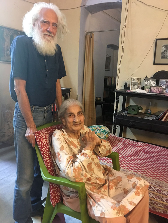 Arvind K Mehrotra with his mother