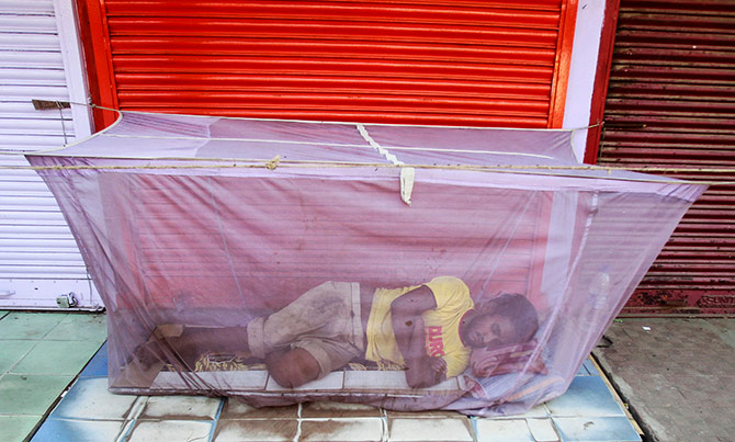 A man sleeps under a mosquito net installed in front of closed shops on a hot summer morning in Agartala, India, May 9, 2016. Photo: Jayanta Dey/Reuters