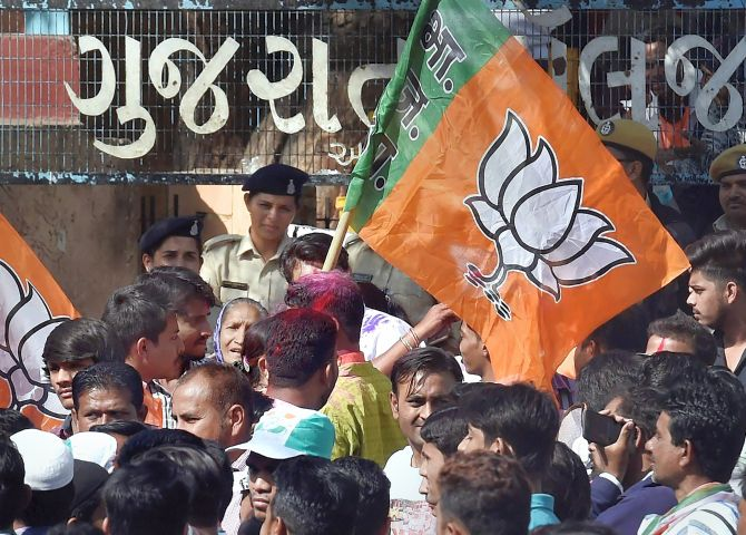 BJP's vote share in Gujarat falls sharply since 2014 polls