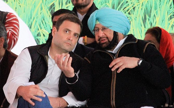 Congress Vice-President Rahul Gandhi, left, with Captain Amarinder Singh at an election rally in Jalalabad, Fazilka district, February 2, 2017. Photograph: PTI Photo
