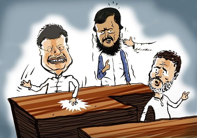 Goyal mimes, Athawale struggles, Rahul gets serious