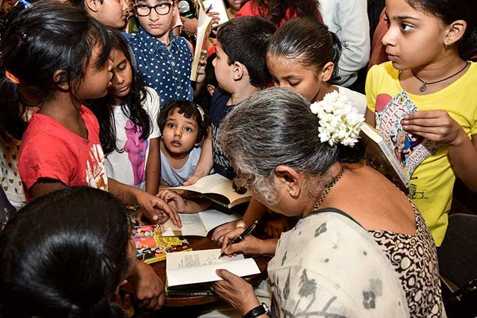 Sudha Murty with her readers at the launch of her book, The Serpent's Revenge