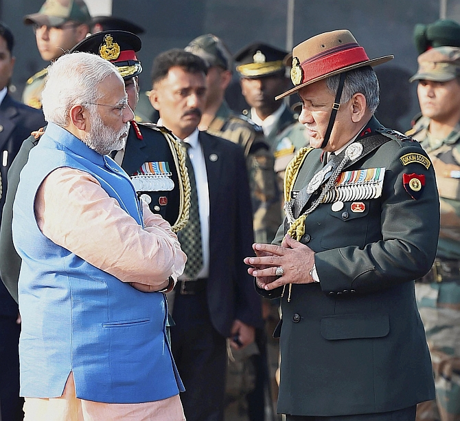 General Bipin Rawat, chief of the army staff, brief Prime Minister Narendra Damodardas Modi on the security situation in Kashmir after four soldiers were slain in a firefight with terrorists, February 14, 2017. Photograph: Kamal Singh/PTI Photo