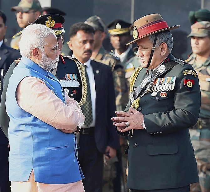 General Bipin Rawat with Prime Minister Narendra Modi, February 15, 2017