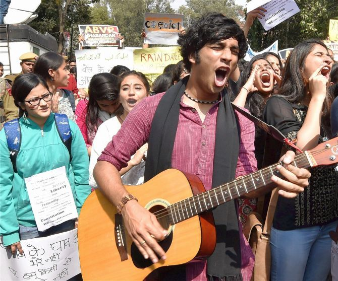 JNU Students at a protest march