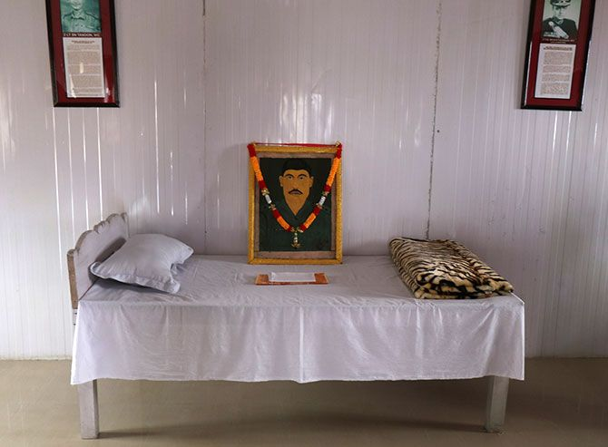 His bed in the room maintained as a tribute to him by the Garhwal Rifles