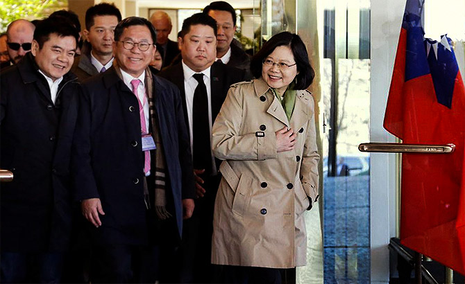 Taiwan President Tsai Ing-wen exits the Omni Houston Hotel in Houston during a 'transit stop' enroute to Central America, January 7, 2017.