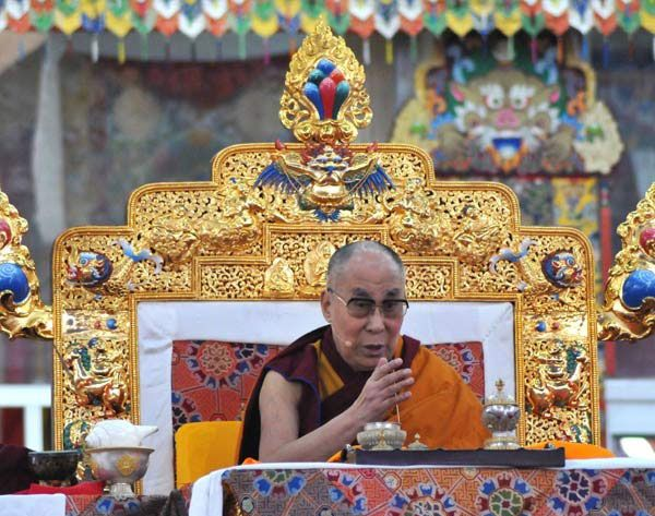 His Holiness The Dalai Lama delivers a sermon at the Kalachakra Puja in Bodh Gaya. Photographs: M I Khan for Rediff.com