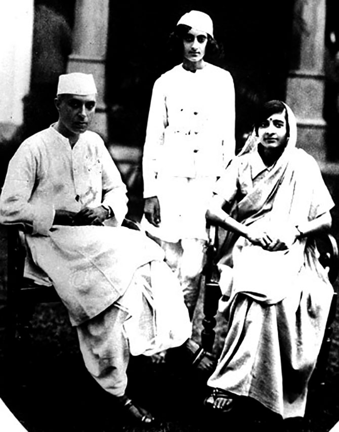Indira Gandhi with her parents