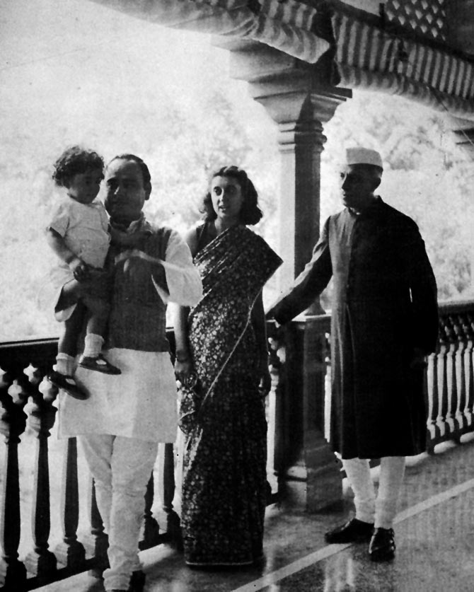 Indira Gandhi with father Jawaharlal, husband Feroz and son Rajiv