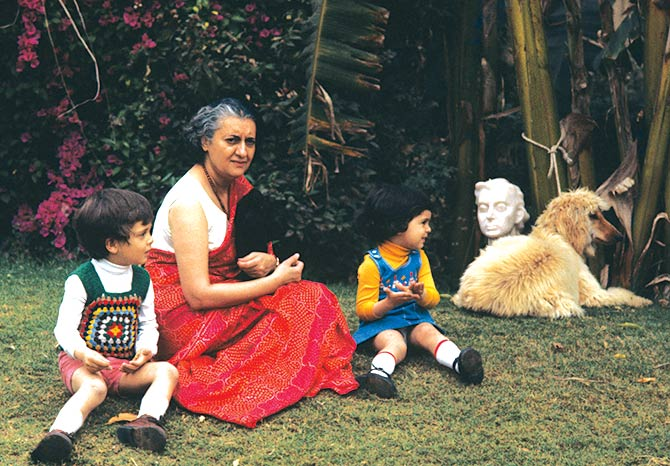 Indira Gandhi with her grandchildren, Rahul and Priyanka