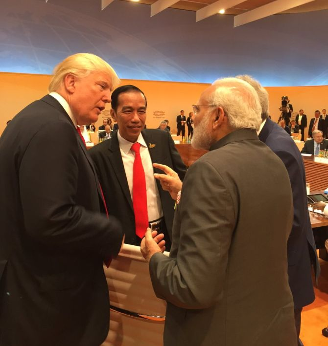 Prime Minister Narendra D Modi and US President Donald J Trump at the G-20 summit in Hamburg, July 8, 2017. Photograph: Kind courtesy Arvind Panagariya