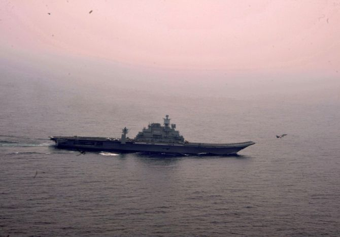 A MiG-29K takes off from the aircraft carrier, the INS Vikramaditya, ahead of Malabar Exercise 2017. Photograph: Indian Navy