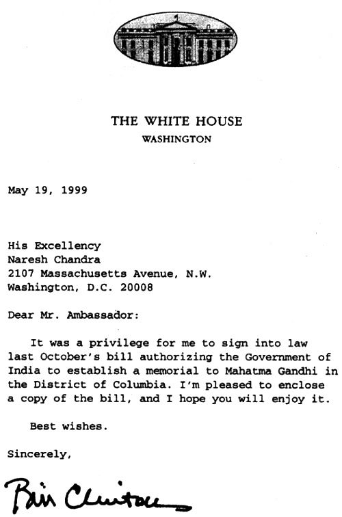 US President Bill Clinton's letter authorising the Gandhi statue outside the Indian embassy in Washington, DC