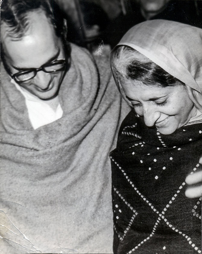 Then prime minister Indira Gandhi with her younger son Sanjay Gandhi