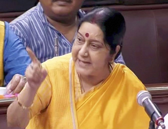 All countries with us: Sushma on China standoff in Rajya Sabha