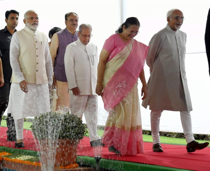 Vice President Hamid Ansari, right, with Lok Sabha Speaker Sumitra Mahajan, then President Pranab Mukherjee, Prime Minister Narendra D Modi and Parliamentary Affairs Minister Ananth Kumar. Photograph: Atul Yadav/PTI Photo