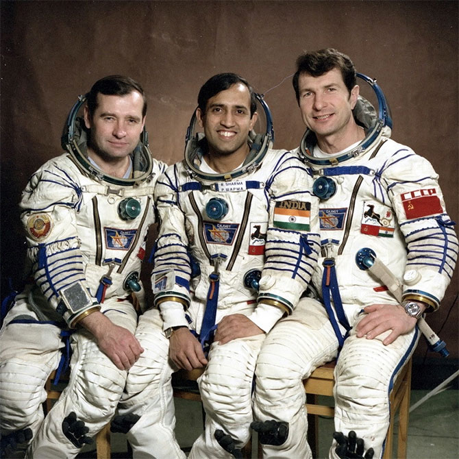 Rakesh Sharma with Soviet cosmonauts