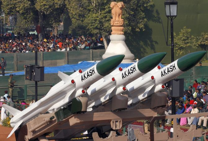 The Akash missile at the Republic Day parade