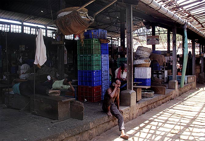 A deserted vegetable market in Byculla, Central Mumbai, a consequence of the farmers's strike. Photograph: Arun Patil