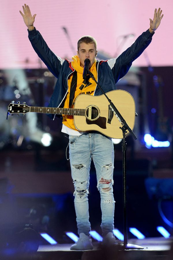 NO SALES, free for editorial use. In this handout provided by 'One Love Manchester' benefit concert Justin Bieber performs on stage on June 4, 2017 in Manchester, England. Donate at www.redcross.org.uk/love  (Photo by Getty Images/Dave Hogan for One Love Manchester)