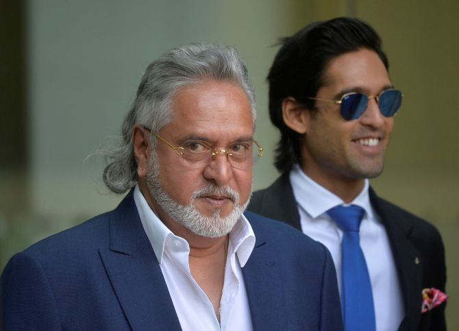 Vijay Mallya, accompanied by his son Siddharth Mallya, leaves the Westminster magistrates court, June 13, 2017 after an extradition hearing. Photograph: Hannah McKay/Reuters