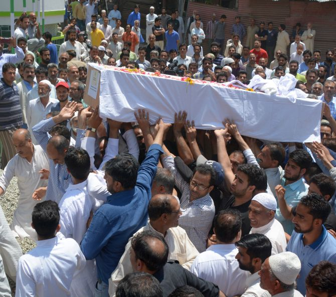 Deputy Superintendent of Police Mohammed Ayoub Pandith's funeral in Srinagar, June 23, 2017. Photograph: Umar Ganie for Rediff.com