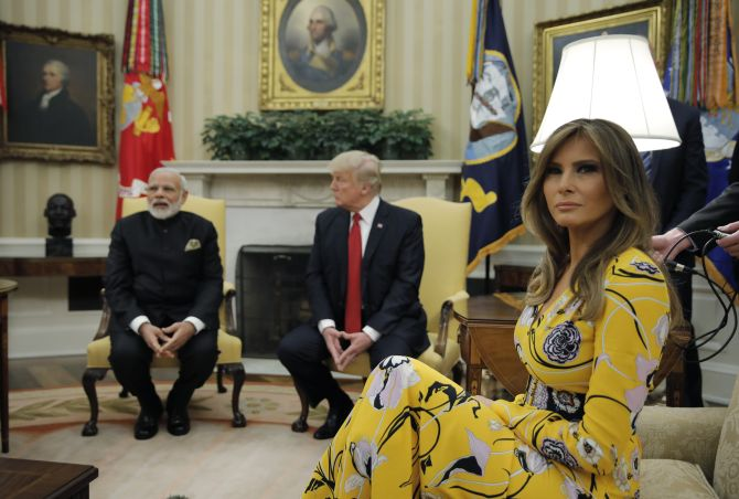 Prime Minister Narendra D Modi with US President Donald J Trump and First Lady Melania Trump in the Oval Office, June 26, 2017. Photograph: Reuters