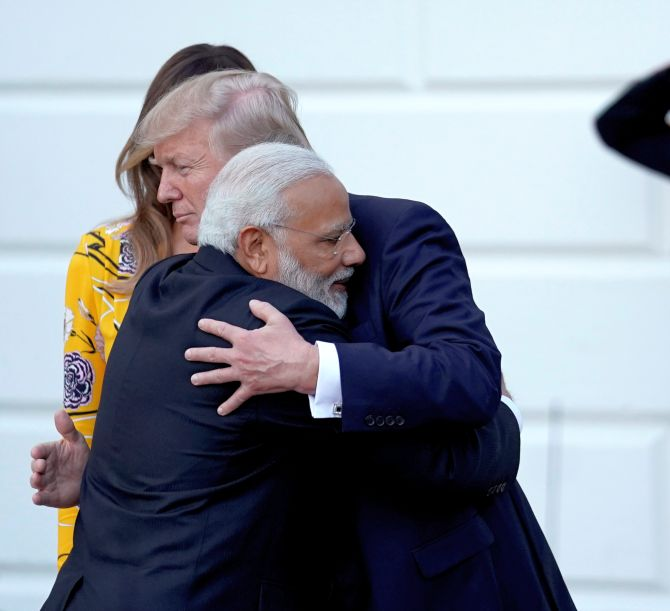 Prime Minister Narendra Modi and US President Donald J Trump hug at the White House, June 26, 2017. Photograph: Reuters