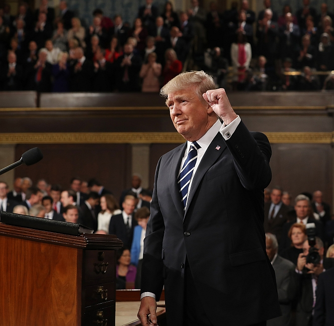 US President Donald J Trump arrives to deliver his first address to a joint session of Congress, February 28, 2017. Photograph: Jim Lo Scalzo/Pool/Reuters