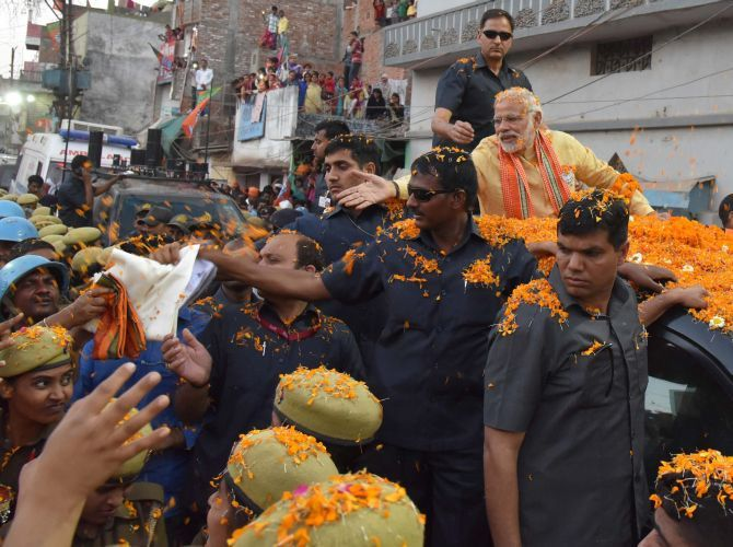 Narendra Modi campaigns in Varanasi, March 5, 2017,