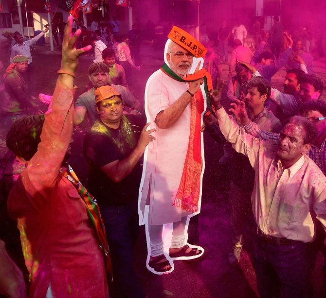 PHOTOS: Holi comes a day early for the BJP