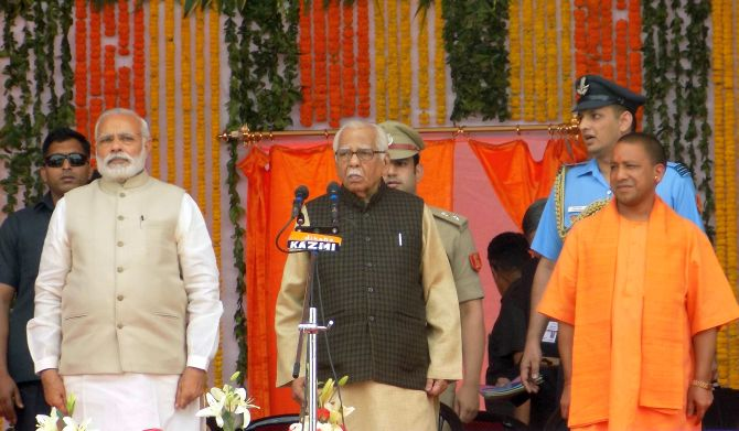 Prime Minister Narendra Modi with Uttar Pradesh Governor Ram Naik and Chief Minister Yogi Adityanath. Photograph: Sandeep Pal