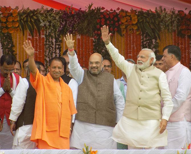 Uttar Pradesh Chief Minister Yogi Adityanath, Bharatiya Janata Party President Amit Shah, Prime Minister Narendra Modi at the swearing-in ceremony in Lucknow, March 19, 2017. Photograph: Sandeep Pal