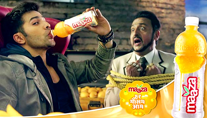 Varun Dhawan and Gulshan Grover in the Maaza ad