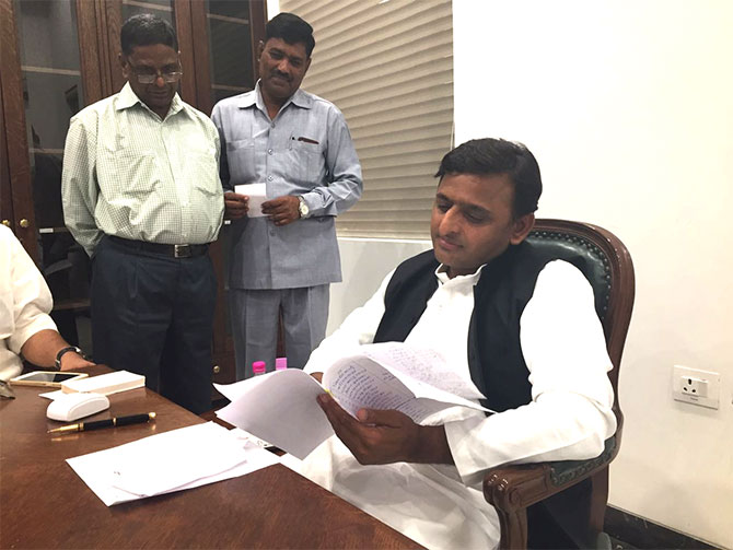 Akhilesh Yadav in his Lucknow office on a Sunday. Photograph: Archana Masih