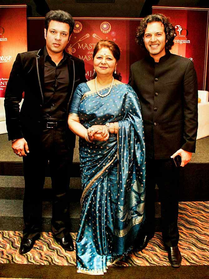 Subhalakshmi Khan is flanked by her sons, Amaan and Ayaan.