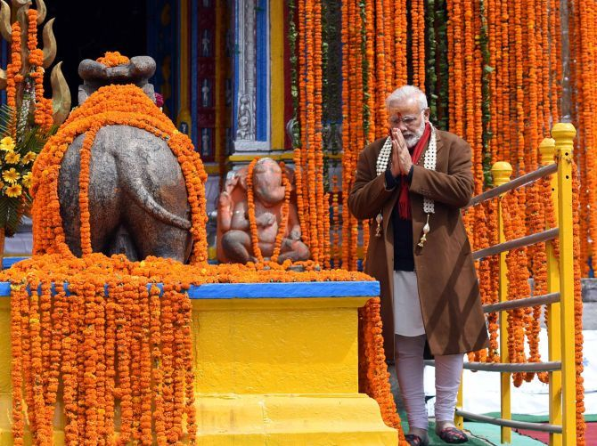 Prime Minister Narendra Modi at the Kedarnath Temple