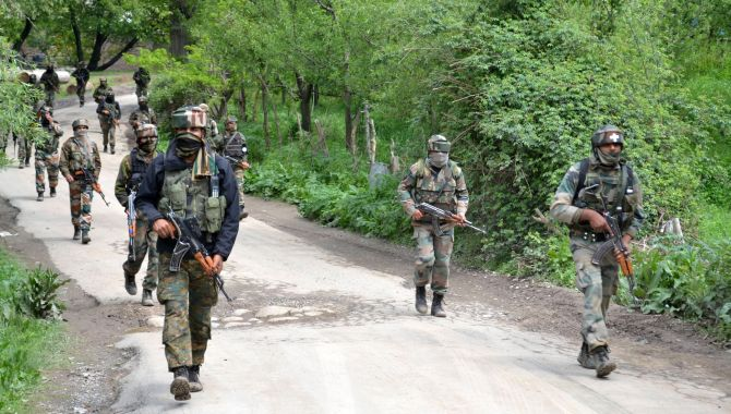 Soldiers during a major anti-terror operation in Shopian, south Kashmir, May 4, 2017. Photograph: Umar Ganie for Rediff.com